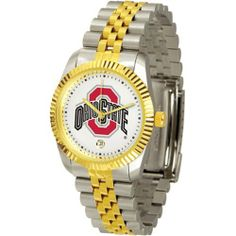 """Ohio State Buckeyes NCAA """"Executive"""" Mens Watch by SunTime. $157.95. Stainless Steel Case. Calendar Date Function. Safety Clasp. Two-Tone Solid Stainless Steel Band. 23kt Gold Plate Bezel. Elegant design for the modern man or woman who wants to show their team spirit! The dial is presented in a sleek, stainless steel case and bracelet that rests fashionably yet comfortably across the wrist. Features a convenient date display, quartz accurate movement and a scratch..."""