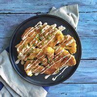 Panko Crusted Cauliflower Steaks with Greek Yogurt & Sriracha sauce Recipe on Food52 recipe on Food52