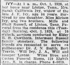 So Many Ancestors!: Sunday's Obituary: Sarah California (Russell) Ivy #genealogy