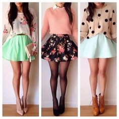 skirt pink flowery dress pullover fashion high heels blue shoes sweater cardigan blouse spring floral skater skirt polka dots shirt white coral vintage