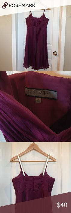 "✨SALE✨Anne Klein Plum Dress Perfect for a guest of weeding or cocktail dress!  Size 6. Worn once to a wedding. Beautiful color that will flatter any skin tone! 👠💃🏻 This dress is super comfy yet sexy and chic!  length is 27"" from bottom of empire waist to hemline. Hits at the knee (for me, I'm 5'5"") Anne Klein Dresses Midi"