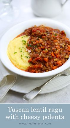 A rustic, tomatoey Tuscan rugu with delicate brown lentils, zucchini and carrots served with cheesy soft polenta. Vegetarian Dinners, Vegetarian Recipes, Cooking Recipes, Healthy Recipes, Vegan Polenta Recipes, Lentil Recipes, Veggie Recipes, Dinner Recipes, Lentil Ragu