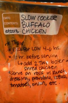 Easy DIY Slow Cooker Buffalo Ranch Chicken - freezer friendly, make 2 batches & freeze the extra. Shred for sandwiches, or to top nachos, or even as a salad topper.