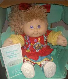 Cabbage Patch Kid 1990 Hasbro Poseable Loreli Raelean Purple Eyes Blonde Ponytail Spiky Fringe