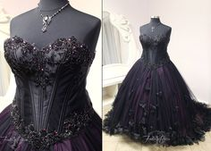 Our client Leanne commissioned us to design and create a gown that was fitting for her Halloween-themed wedding! Her corset has beaded black vines that grow across her chest and the bottom of the c...