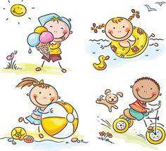 summer <b>kids</b> illustrations vector set of 4 vector summer <b>kids</b> in play ...