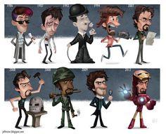 Ilustracion con la evolución de famosos en sus películas