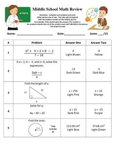 This product is a coloring activity that has the student reviewing objectives from middle school math/algebra/pre-algebra/8th grade.  It has a vari...