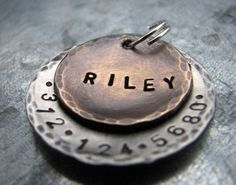 Custom Pet ID Tag / Dog Tag Riley in Mixed Metal by theCopperPoppy, $15.50