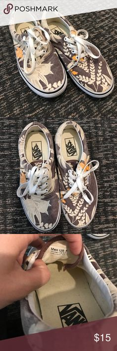 Van Doren Vans Hawaiian Print Sz 6.5W / 5M Preowned pair of Van Doren Vans. Hawaiian print all over in white, yellow & brown. Worn a handful of times but shows some minor wear. See photos. Size 6.5 women's or 5 men's. Vans Shoes Sneakers