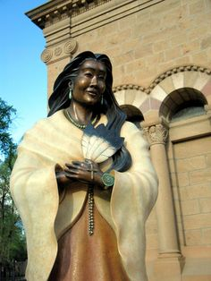 Bronze statue of Kateri Tekakwitha at St. Francis of Assissi-Cathedral in Santa Fe. She has become the first Native American Saint in the Catholic Church.