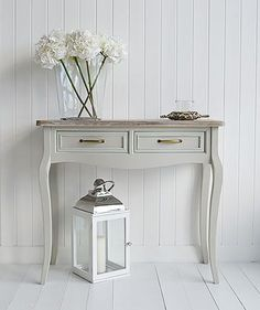 Bridgeport grey console sofa table with two drawers. Grey living room and hall furniture from The White Lighthouse
