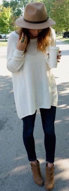 #fall #outfits / white knit + booties