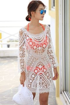 White Crochet Lace Beachwear