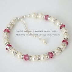 Pink Personalized Bridesmaid Gift Bracelet by alexandreasjewels
