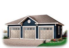 Garage Plan 76153 | Area: 768 sq ft, 3 bays, 32' x 24' #3cargarage #garageplan
