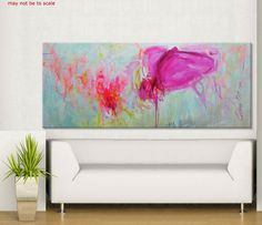Elena Petrova 72x30 large abstract pink by ElenasArtStudio on Etsy, $369.00