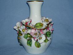 English Porcelain Flower Encrusted Vase C1870
