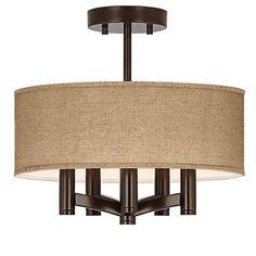 Woven Burlap Ava 5-Light Bronze Ceiling Light