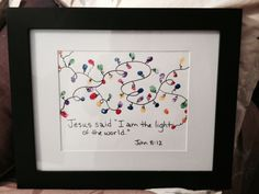 "Jesus said ""I am the light of the world."" John Made this as a gift. Christmas Gifts For Parents, Christmas Crafts For Toddlers, Christmas Jesus, Childrens Christmas, Christian Christmas, Preschool Christmas, Toddler Christmas, Handmade Christmas Gifts, Christmas Nativity"