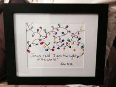 "Fingerprint Christmas lights. Jesus said ""I am the light of the  world."" John 8:12. Made this as a gift.  So cute !"