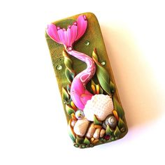 Pink Mermaid Tail Slide Top Tin Sewing Needle Case by Claybykim