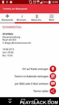 SRK Blutspende-App  Android App - playslack.com , Die neue Blutspende-App für Ihr Smartphone! Immer die aktuellsten Blutspendetermine für die Schweiz und Ihre Region! Egal ob an Ihrem aktuellen Standort oder für die weitere Planung: Mit der integrierten Terminsuche wissen Blutspender stets genau, wann und wo die nächsten Blutspendeaktionen und -termine stattfinden und können sich bis zu 2 Tage vorher per E-Mail oder SMS daran erinnern lassen.