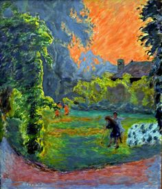 Pierre Bonnard - Soleil couchant, 1913 at Kunsthaus Zürich - Zurich Switzerland Pierre Bonnard, Paul Gauguin, Henri Matisse, Garden Painting, Painting & Drawing, Impressionist Paintings, Landscape Paintings, Edouard Vuillard, French Artists