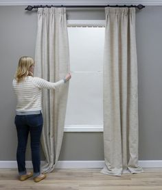 When hanging draperies, you can't expect them to look perfect right out of the package. It takes a few extra steps to give your windows a professional look, but it's so worth it. How to Train Drapes Getting Started: Iron or Drapes And Blinds, House Blinds, Home Curtains, Hanging Curtains, Curtains Living, Window Treatments Living Room Curtains, Window Curtains, Valance, Glass Door Coverings