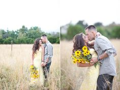 like her simple sunflower bouquet and her dress