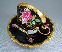 Black tea cup w bright pink flowers-Rosenthal Pompadour Mokkatasse Mit Unterteller