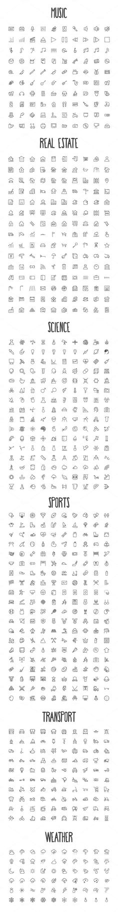 2440 Hand Drawn Doodle Icons Bundle by Creative Stall on Creative Market