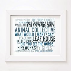 Animal Collective limited edition typography lyrics art print, signed and numbered album wall art poster available from www.lissomeartstudio.com
