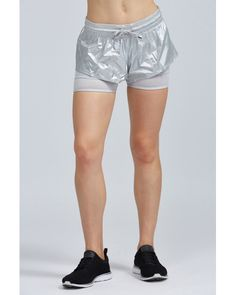 297d765672467 Adidas By Stella McCartney - Metallic Run Medals 2 In 1 Short - Lyst