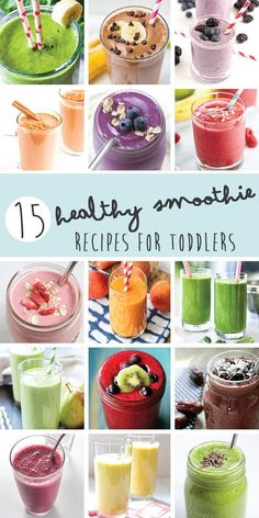 15 Smoothies for your Toddles (and Kids)! Smoothies are a great. 15 Smoothies for your Toddles (and Kids)! Smoothies are a great (and easy) way to get nutrient dense fruits and vegetables into your kids without them really knowing it! Baby Smoothies, Toddler Smoothies, Smoothie Recipes For Kids, Healthy Snacks For Kids, Fruit Smoothies, Healthy Drinks, Baby Food Recipes, Family Recipes, Fruit Snacks