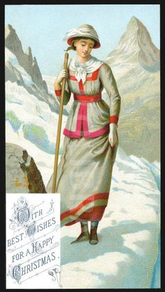 Christmas postcard showing a woman hiking, date missing approx 1898