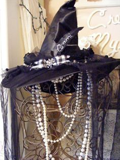 Vintage Halloween Costumes Witch hat, with pearl embelishments. - I like the pearls Halloween Witch Hat, Holidays Halloween, Halloween Diy, Happy Halloween, Halloween Decorations, Witch Hats, Halloween History, Witch Broom, Pagan Witch