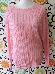 Lilly Pulitzer Women Pink Crew Neck Cable Knit Sweater Size L #LillyPulitzer #Crewneck