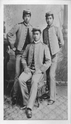 Brothers Jonah Kuhio Kalanianaole  (1871-1922), Edward Keliiahonui (1869-1887), and David Kawananakoa (1868-1908).  photo circa: 1885/1886