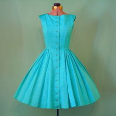 Vintage 40s-50s Cocktail, Wedding, Party Dress - Tiffany Blue - Damask Taffeta Floral - Rhinestone Buttons -sz XS