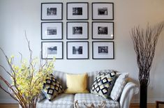 Splashes of yellow accents surround photo arrangement in black and white
