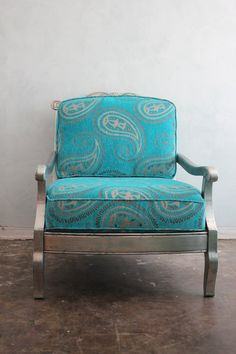Large Moroccan paisley velvet silver leaf club chair. This would complement the turquoise chair I inherited from my grandmother quite nicely.