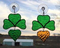 Stained Glass Four-Leaf Clover Suncatcher
