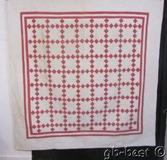 Calico Pink 1880s Irish Chain Antique QUILT 76 x 77 fine quilting COTTAGE Chic