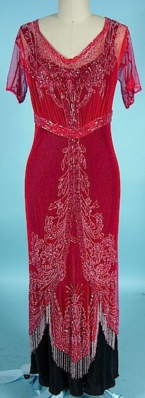 Edwardian Red Cotton Net Clear Beaded Overdress With Beaded Fringe   c.1912  -  Antique & Vintage Dress Gallery