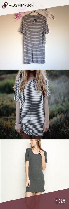Gray & White Stripped Luana Dress Brandy Melville stripped dress. Oversized fit. Thick sturdy material. 🅿️🅿️Ⓜ️👍🏼 Brandy Melville Dresses