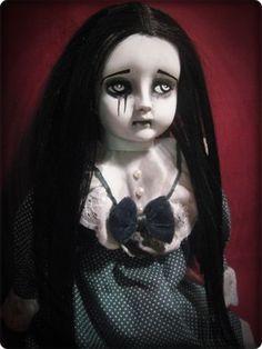 Creepy Sitting Sad Mascara Tears Gothic Doll in Plaid Halloween horror art prop ebay id: bastet2329