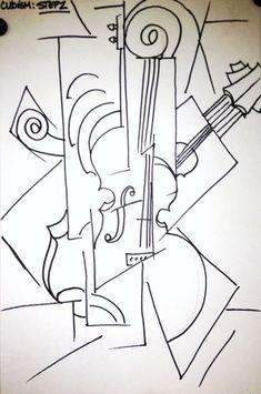Cubism music instrument lesson plan - Cubism Instrument Oil Pastel and Collage Art Lesson - Cubist Drawing, Cubist Art, Cubist Portraits, Abstract Portrait, Portrait Paintings, Painting Abstract, Acrylic Paintings, Art Paintings, Rhythm Art