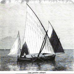 "Llaüt Pescador Palangré - illustr. from ""Die Balearien"" by l'Arxiduc Luis Salvador d'Austria, ca. 1870-80"