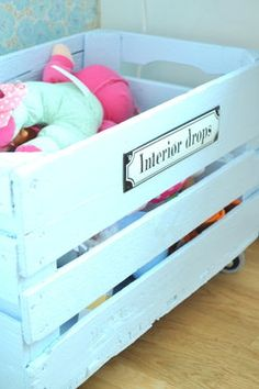 toy storage (paint a crate to match the living room decor...perfect for the baby's stuff)